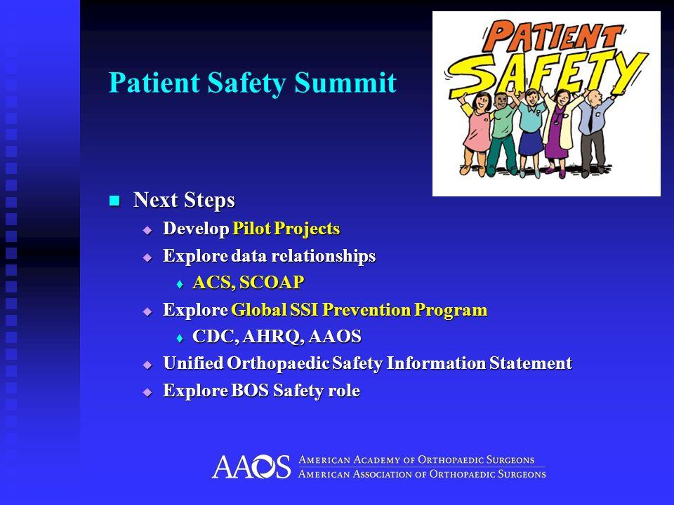 Patient Safety Summit Next Steps Next Steps Develop Pilot Projects Develop Pilot Projects Explore data relationships Explore data relationships ACS, S