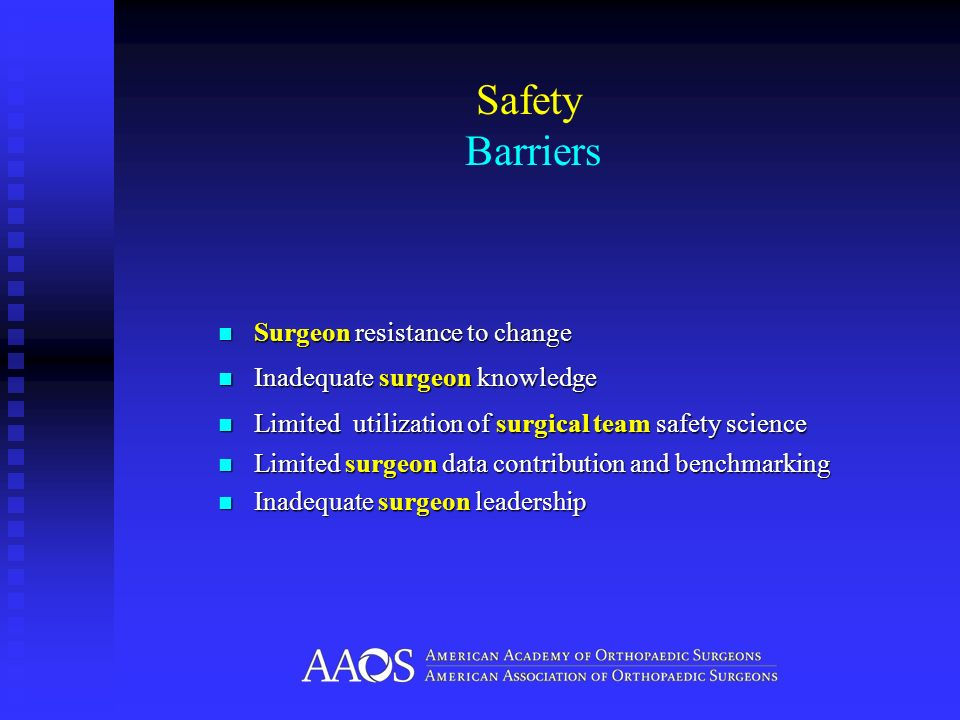 Safety Barriers Surgeon resistance to change Surgeon resistance to change Inadequate surgeon knowledge Inadequate surgeon knowledge Limited utilizatio