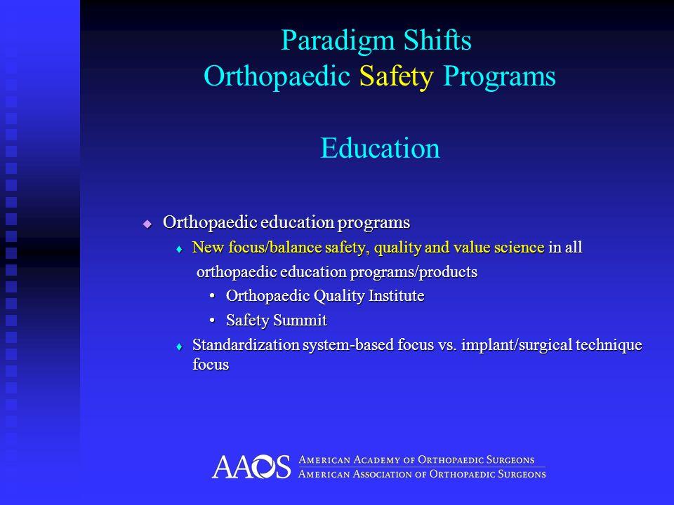 Paradigm Shifts Orthopaedic Safety Programs Education Orthopaedic education programs Orthopaedic education programs New focus/balance safety, quality