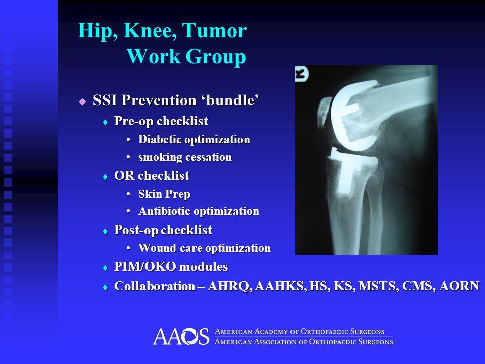 Hip, Knee, Tumor Work Group SSI Prevention bundle SSI Prevention bundle Pre-op checklist Pre-op checklist Diabetic optimizationDiabetic optimization s