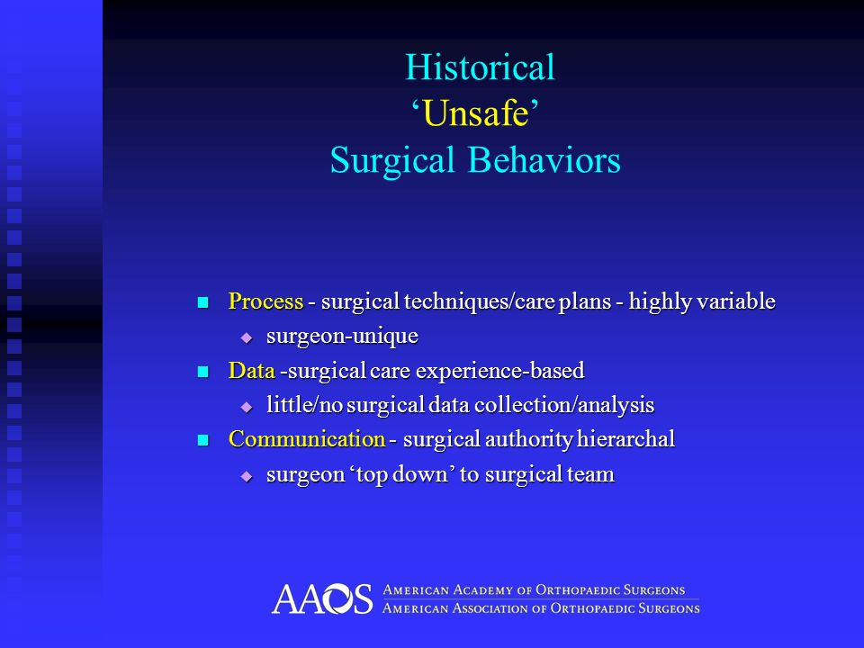 HistoricalUnsafe Surgical Behaviors Process - surgical techniques/care plans - highly variable Process - surgical techniques/care plans - highly varia