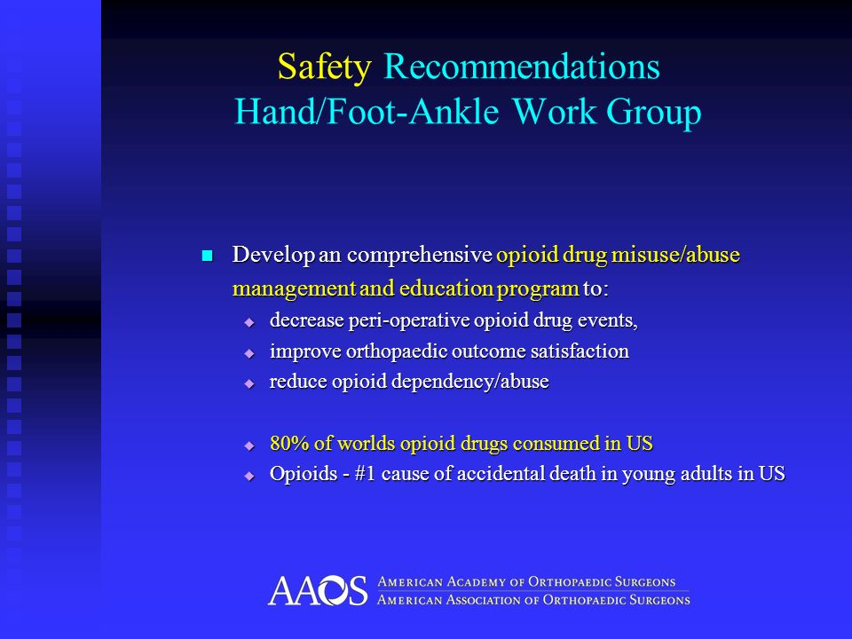 Safety Recommendations Hand/Foot-Ankle Work Group Develop an comprehensive opioid drug misuse/abuse Develop an comprehensive opioid drug misuse/abuse