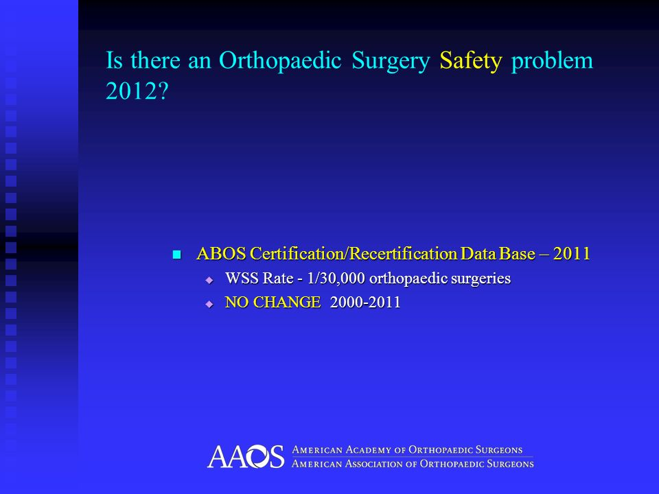 Is there an Orthopaedic Surgery Safety problem 2012? ABOS Certification/Recertification Data Base – 2011 ABOS Certification/Recertification Data Base