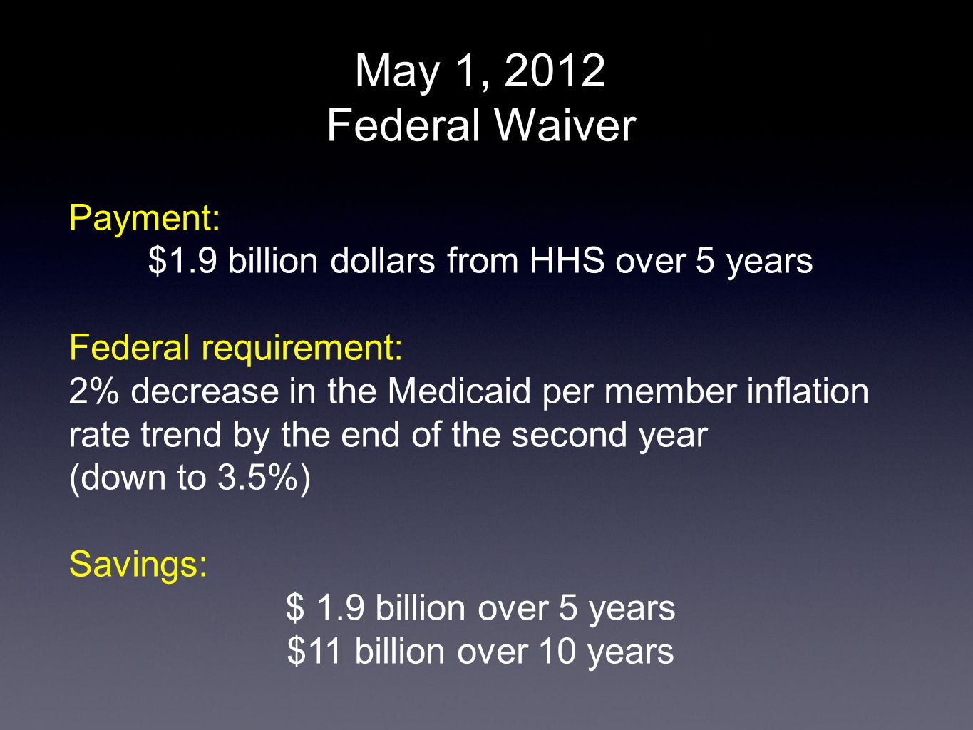 May 1, 2012 Federal Waiver Payment: $1.9 billion dollars from HHS over 5 years Federal requirement: 2% decrease in the Medicaid per member inflation r