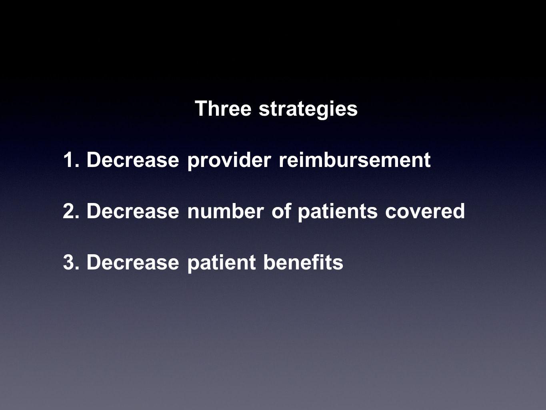 Three strategies 1. Decrease provider reimbursement 2. Decrease number of patients covered 3. Decrease patient benefits