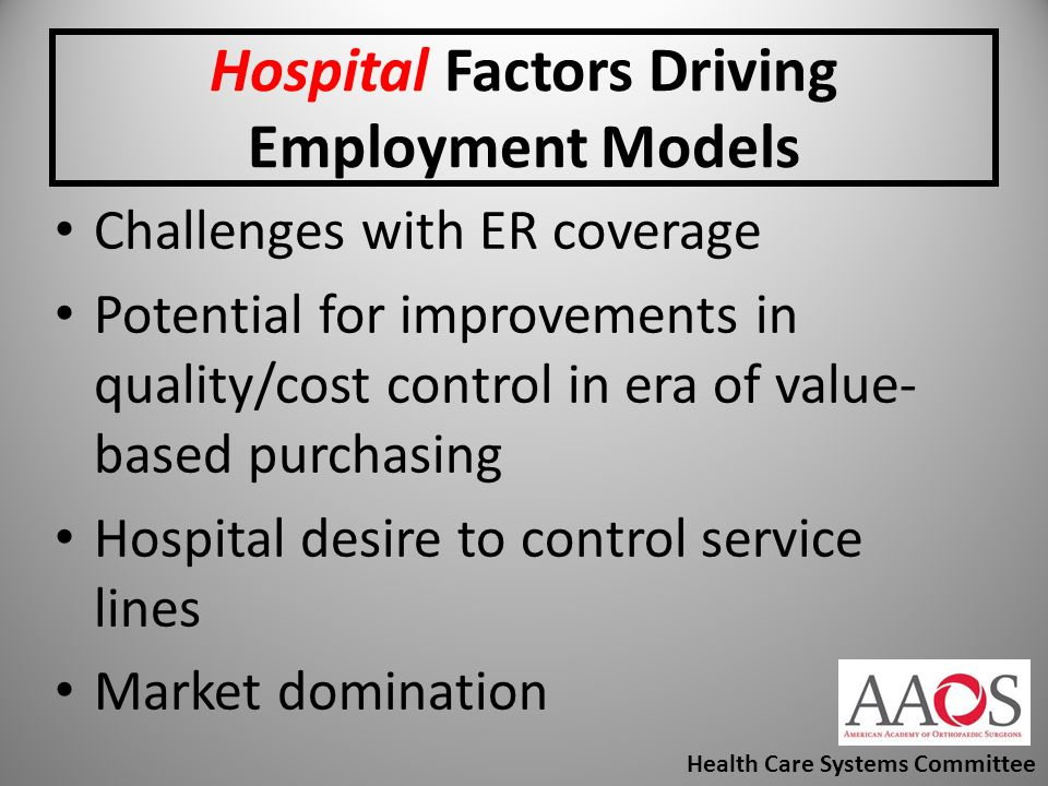 Hospital Factors Driving Employment Models Challenges with ER coverage Potential for improvements in quality/cost control in era of value- based purch
