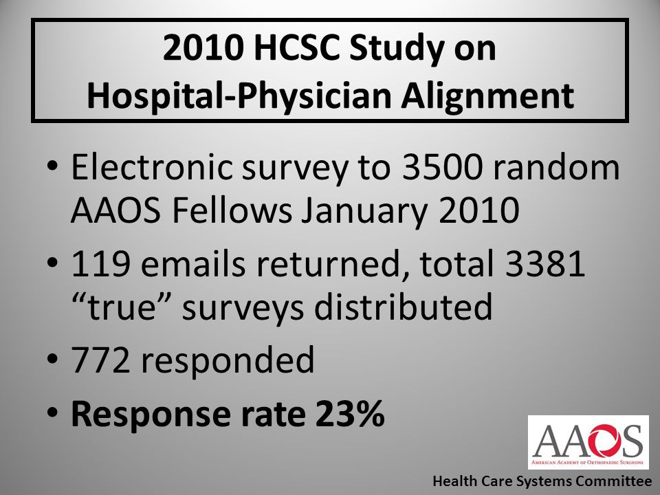 2010 HCSC Study on Hospital-Physician Alignment Electronic survey to 3500 random AAOS Fellows January 2010 119 emails returned, total 3381 true survey