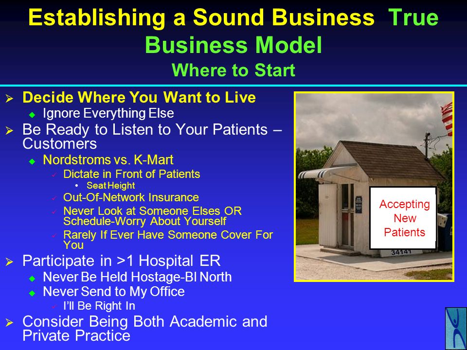 Establishing a Sound Business Medical Model Resources Question: How Do I Know What I Need to Get Started.