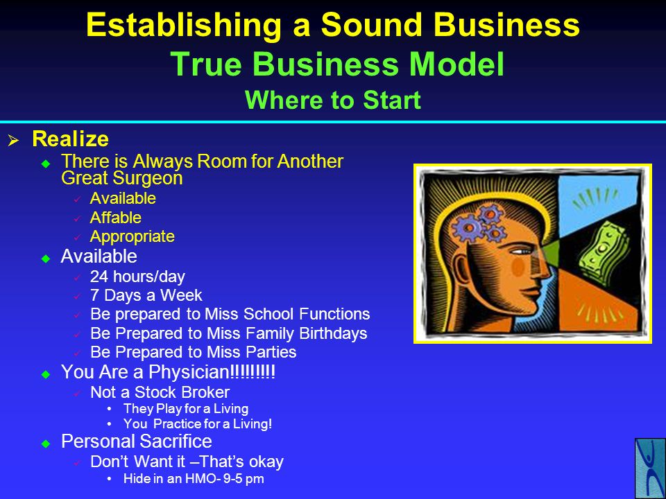 Establishing a Sound Business True Business Model Where to Start Decide Where You Want to Live Ignore Everything Else Be Ready to Listen to Your Patients – Customers Nordstroms vs.