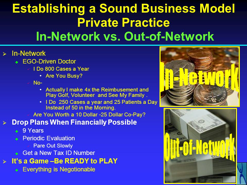 Establishing a Sound Business Model Private Practice In-Network vs. Out-of-Network Out-of-Network 4 Times the Reimbursement More Pro Bono Work Common