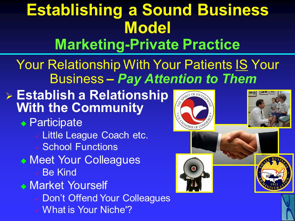 Establishing a Sound Business Model Private Practice In-Network vs. Out-of-Network In-Network EGO-Driven Doctor I Do 800 Cases a Year Are You Busy? No