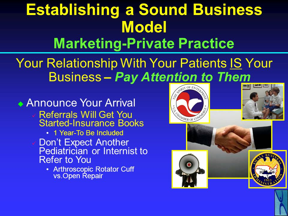 Establishing a Sound Business Model Marketing-Private Practice Your Relationship With Your Patients IS Your Business – Pay Attention to Them Establish