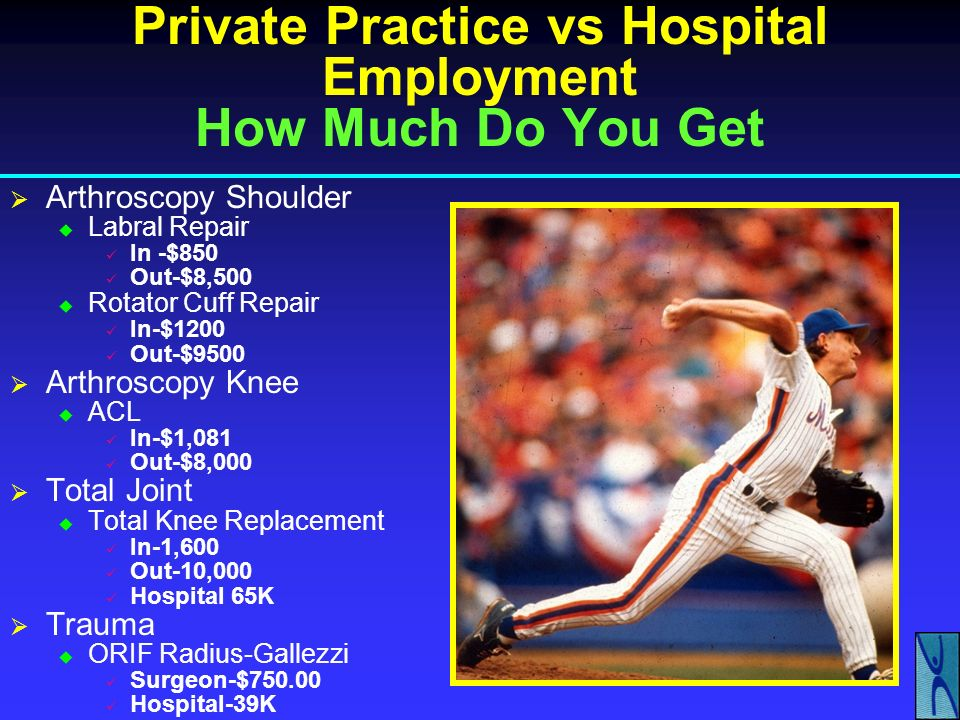 Private Practice vs Hospital Employment How Much Do You Get Arthroscopy Shoulder Labral Repair In Out Rotator Cuff Repair In Out Arthroscopy Knee ACL