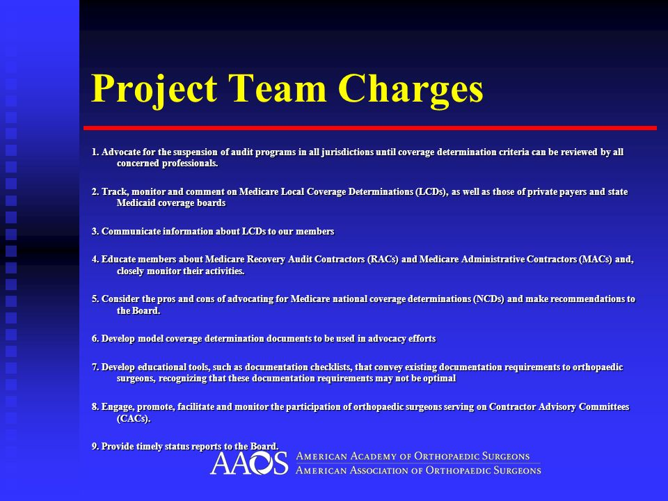 Project Team Charges 1. Advocate for the suspension of audit programs in all jurisdictions until coverage determination criteria can be reviewed by al