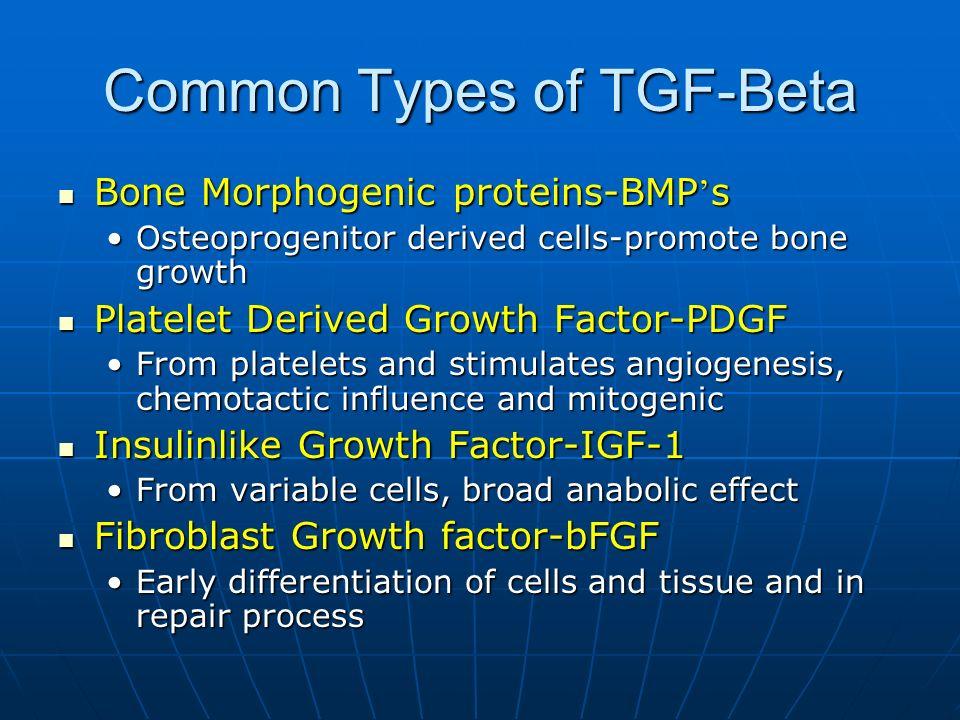 Common Types of TGF-Beta Bone Morphogenic proteins-BMP s Bone Morphogenic proteins-BMP s Osteoprogenitor derived cells-promote bone growthOsteoprogeni