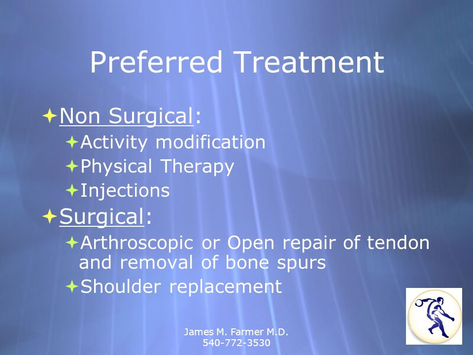 James M. Farmer M.D. 540-772-3530 Preferred Treatment Non Surgical: Activity modification Physical Therapy Injections Surgical: Arthroscopic or Open r