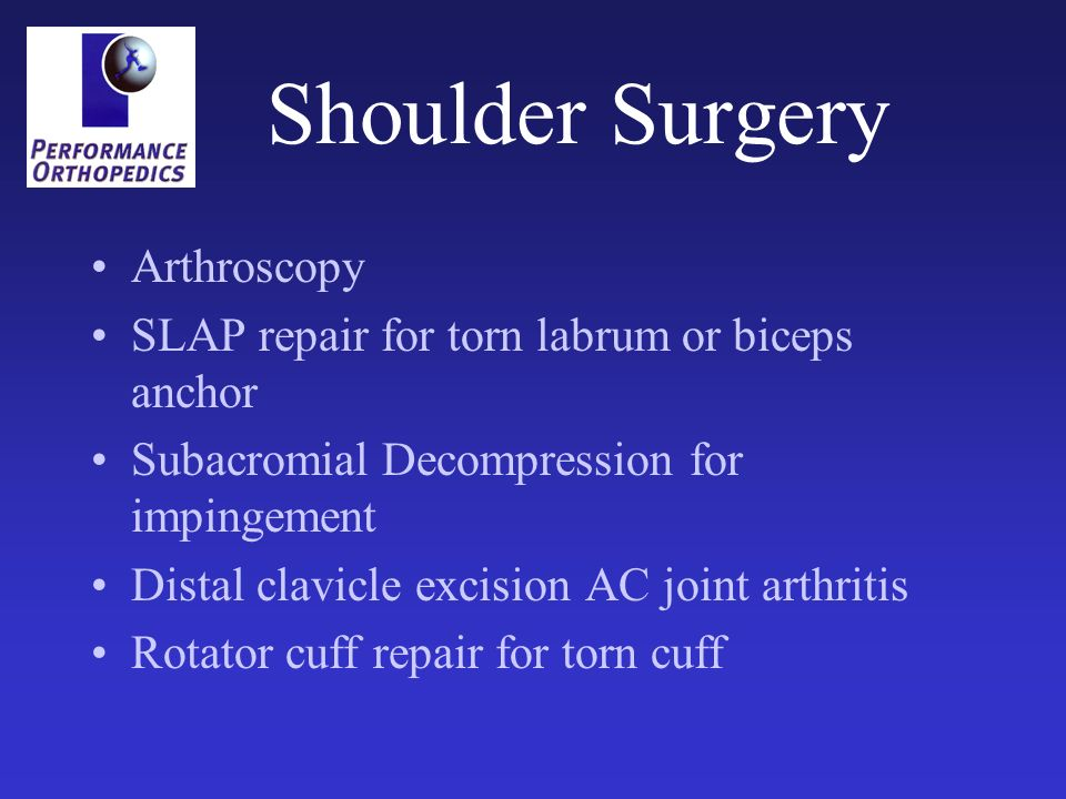 Shoulder Surgery Arthroscopy SLAP repair for torn labrum or biceps anchor Subacromial Decompression for impingement Distal clavicle excision AC joint