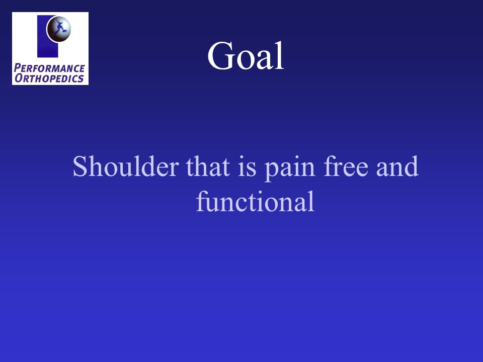 Goal Shoulder that is pain free and functional