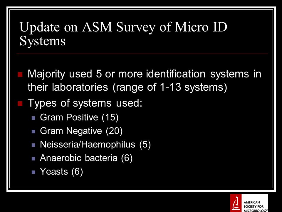 Update on ASM Survey of Micro ID Systems Majority used 5 or more identification systems in their laboratories (range of 1-13 systems) Types of systems used: Gram Positive (15) Gram Negative (20) Neisseria/Haemophilus (5) Anaerobic bacteria (6) Yeasts (6)