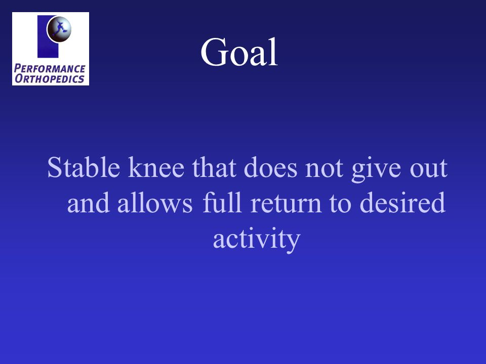 Goal Stable knee that does not give out and allows full return to desired activity