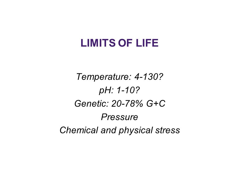 LIMITS OF LIFE Temperature: pH: