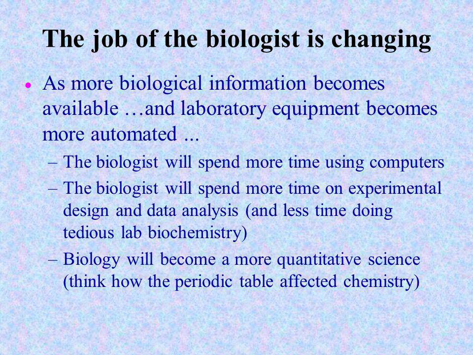 The job of the biologist is changing As more biological information becomes available …and laboratory equipment becomes more automated...