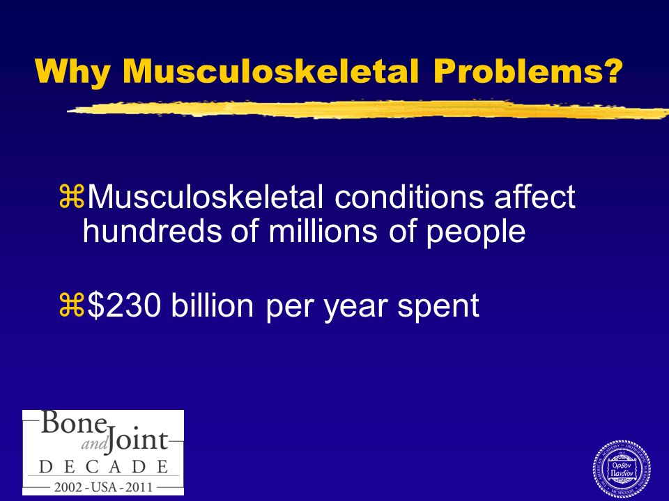 10 Why Musculoskeletal Problems? zMusculoskeletal conditions affect hundreds of millions of people z$230 billion per year spent