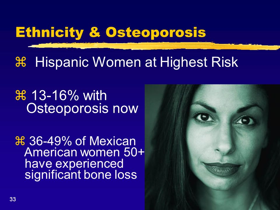 33 Ethnicity & Osteoporosis z 13-16% with Osteoporosis now z 36-49% of Mexican American women 50+ have experienced significant bone loss z Hispanic Wo