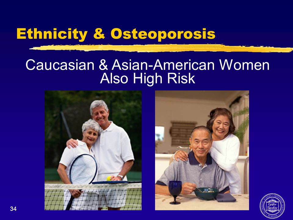34 Ethnicity & Osteoporosis Caucasian & Asian-American Women Also High Risk