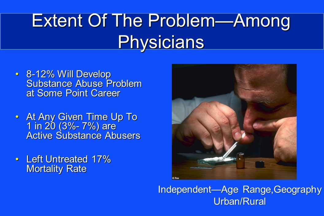 Extent Of The ProblemAmong Physicians 8-12% Will Develop Substance Abuse Problem at Some Point Career8-12% Will Develop Substance Abuse Problem at Some Point Career At Any Given Time Up To 1 in 20 (3%- 7%) are Active Substance AbusersAt Any Given Time Up To 1 in 20 (3%- 7%) are Active Substance Abusers Left Untreated 17% Mortality RateLeft Untreated 17% Mortality Rate IndependentAge Range,Geography Urban/Rural
