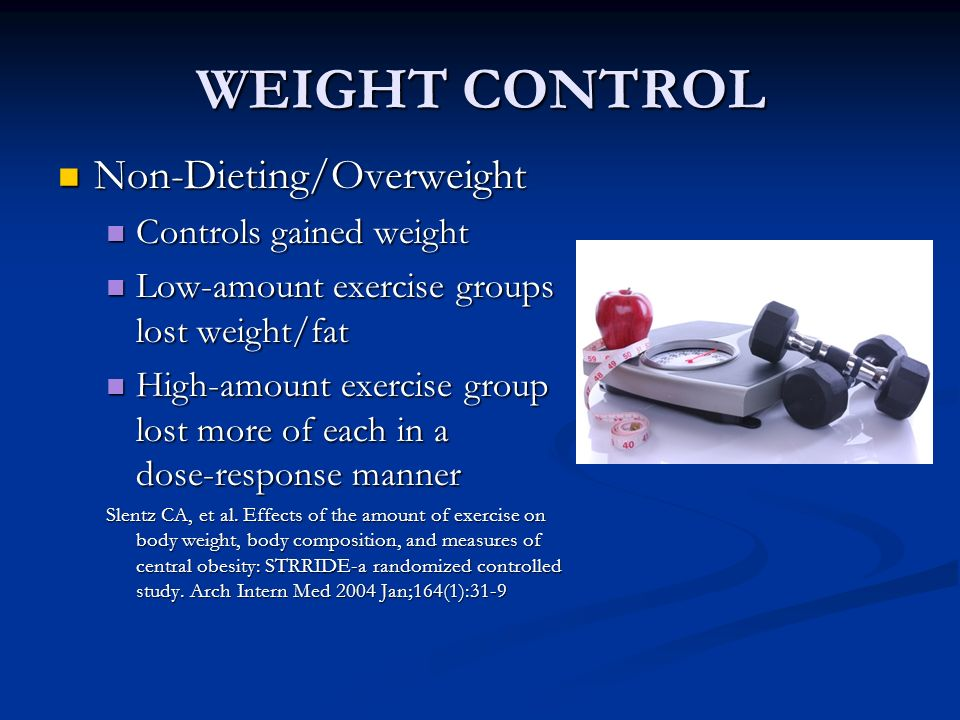 WEIGHT CONTROL Non-Dieting/Overweight Non-Dieting/Overweight Controls gained weight Controls gained weight Low-amount exercise groups lost weight/fat