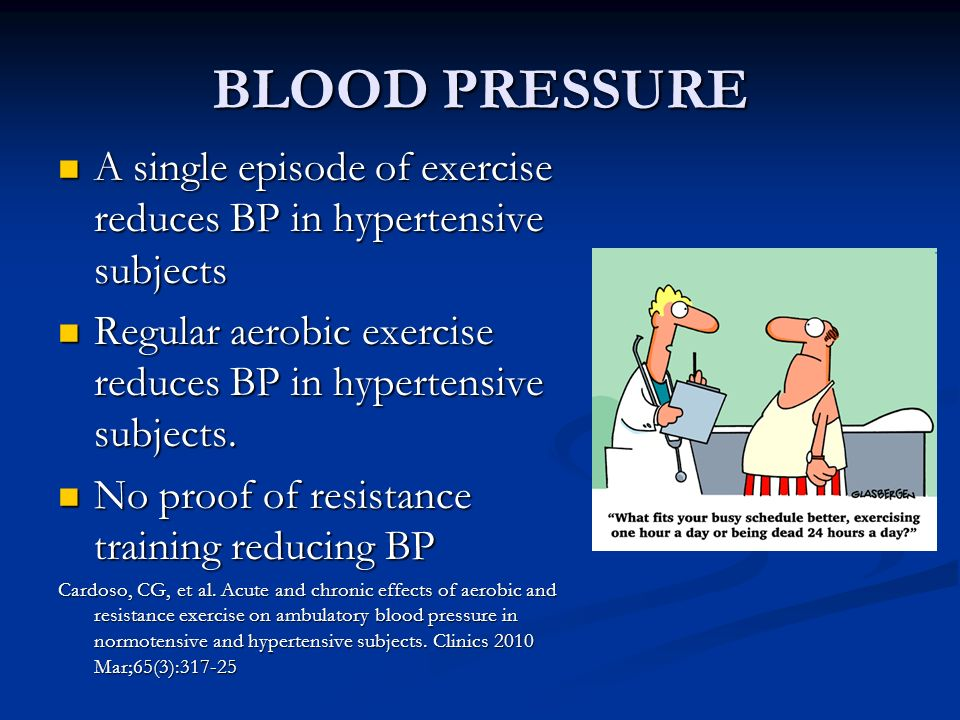 BLOOD PRESSURE A single episode of exercise reduces BP in hypertensive subjects A single episode of exercise reduces BP in hypertensive subjects Regul