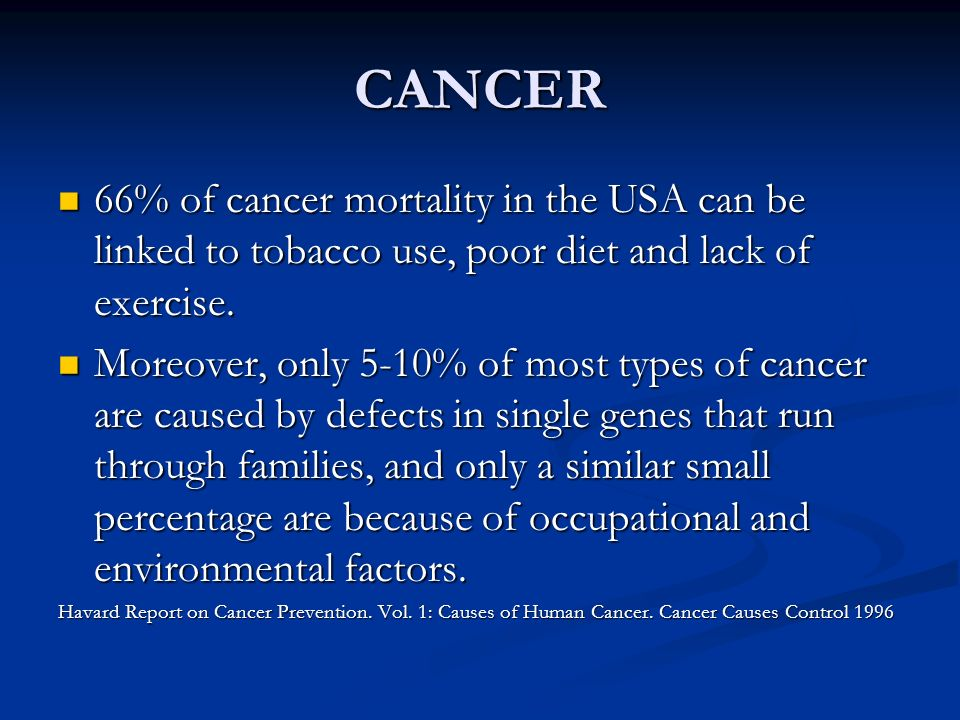 CANCER 66% of cancer mortality in the USA can be linked to tobacco use, poor diet and lack of exercise. 66% of cancer mortality in the USA can be link