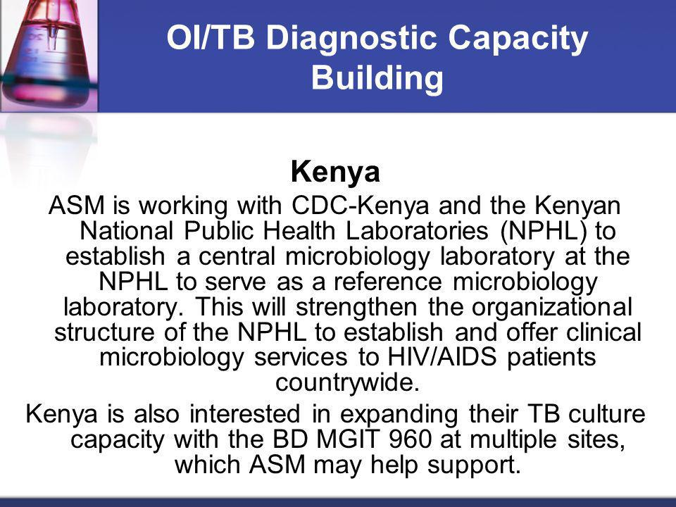 OI/TB Diagnostic Capacity Building Kenya ASM is working with CDC-Kenya and the Kenyan National Public Health Laboratories (NPHL) to establish a centra