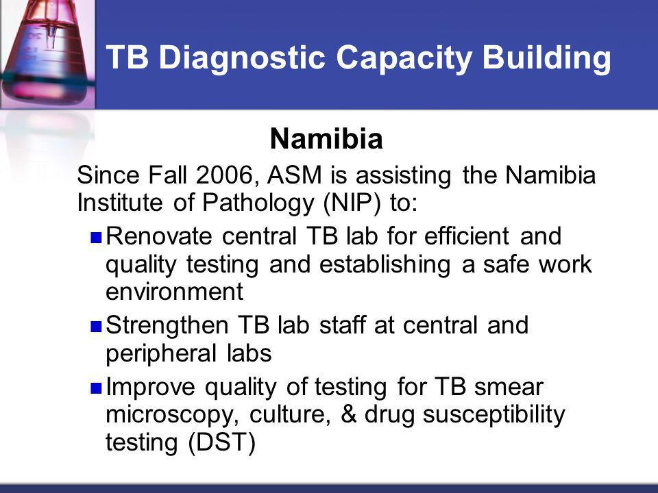 TB Diagnostic Capacity Building Namibia Since Fall 2006, ASM is assisting the Namibia Institute of Pathology (NIP) to: Renovate central TB lab for eff