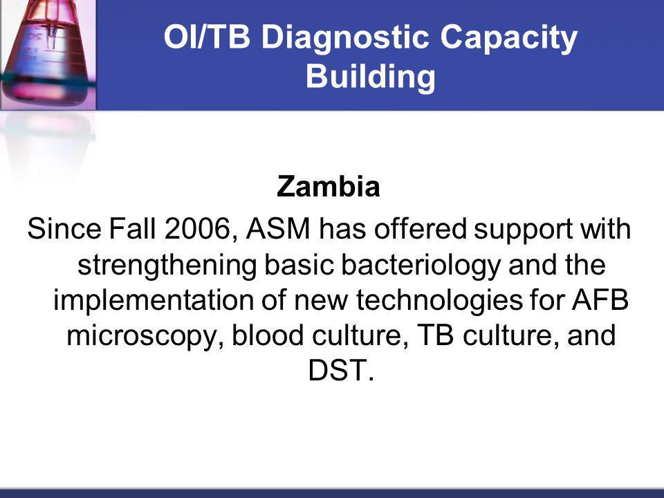 OI/TB Diagnostic Capacity Building Zambia Since Fall 2006, ASM has offered support with strengthening basic bacteriology and the implementation of new