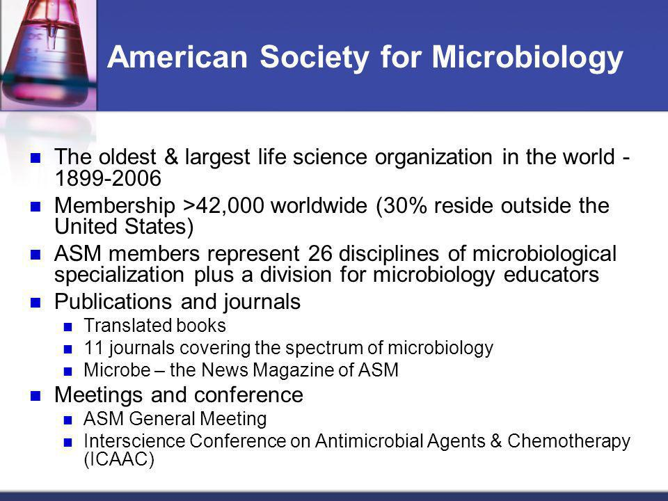 The oldest & largest life science organization in the world - 1899-2006 Membership >42,000 worldwide (30% reside outside the United States) ASM member