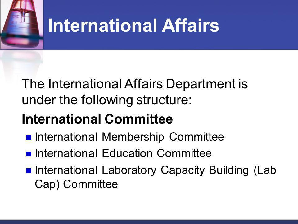 International Affairs The International Affairs Department is under the following structure: International Committee International Membership Committe