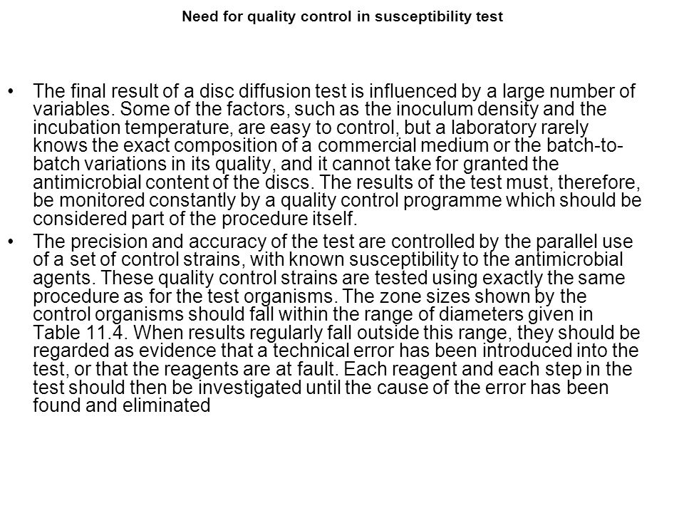 Need for quality control in susceptibility test The final result of a disc diffusion test is influenced by a large number of variables. Some of the fa