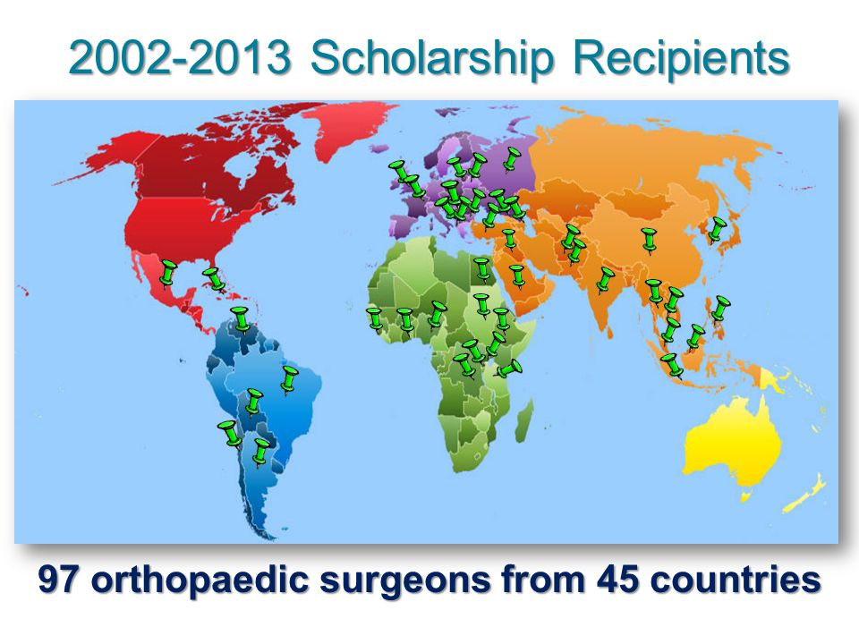 2002-2013 Scholarship Recipients 97 orthopaedic surgeons from 45 countries