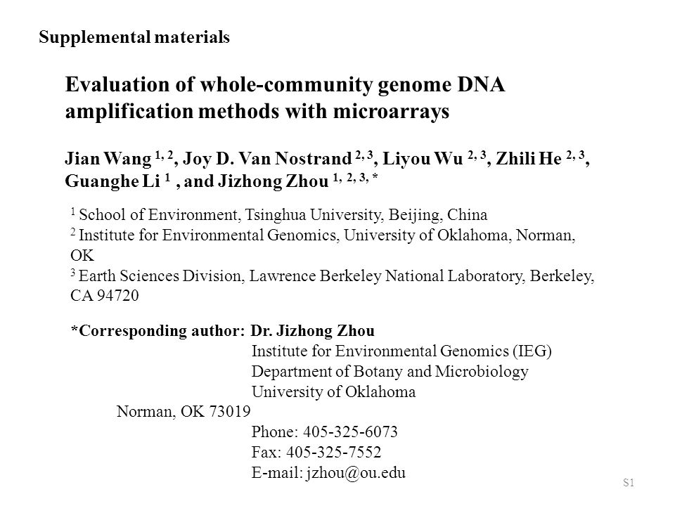Evaluation of whole-community genome DNA amplification methods with microarrays Jian Wang 1, 2, Joy D.