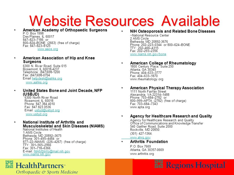 Website Resources Available Website Resources Available American Academy of Orthopaedic SurgeonsAmerican Academy of Orthopaedic Surgeons P.O.