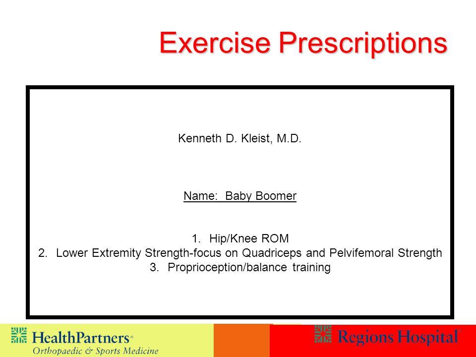 Exercise Prescriptions Kenneth D.Kleist, M.D.