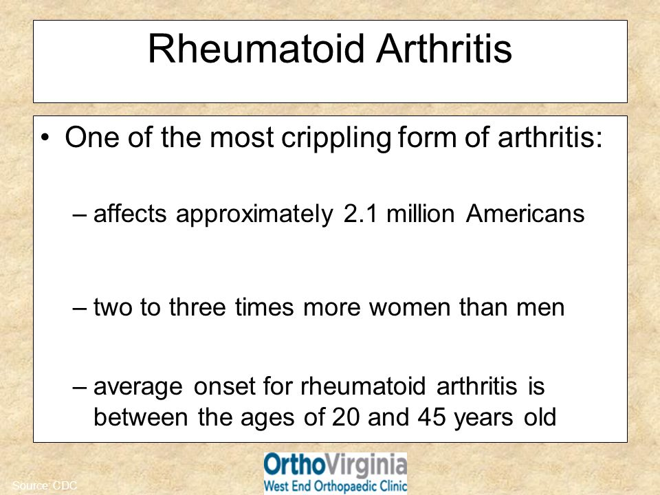 Rheumatoid Arthritis One of the most crippling form of arthritis: –affects approximately 2.1 million Americans –two to three times more women than men