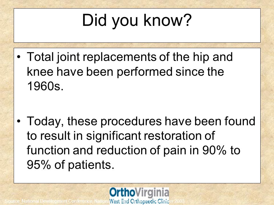 Did you know? Total joint replacements of the hip and knee have been performed since the 1960s. Today, these procedures have been found to result in s