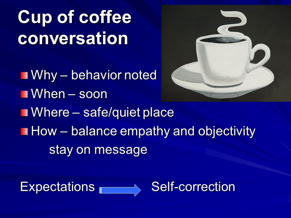 Cup of coffee conversation Why – behavior noted When – soon Where – safe/quiet place How – balance empathy and objectivity stay on message Expectation