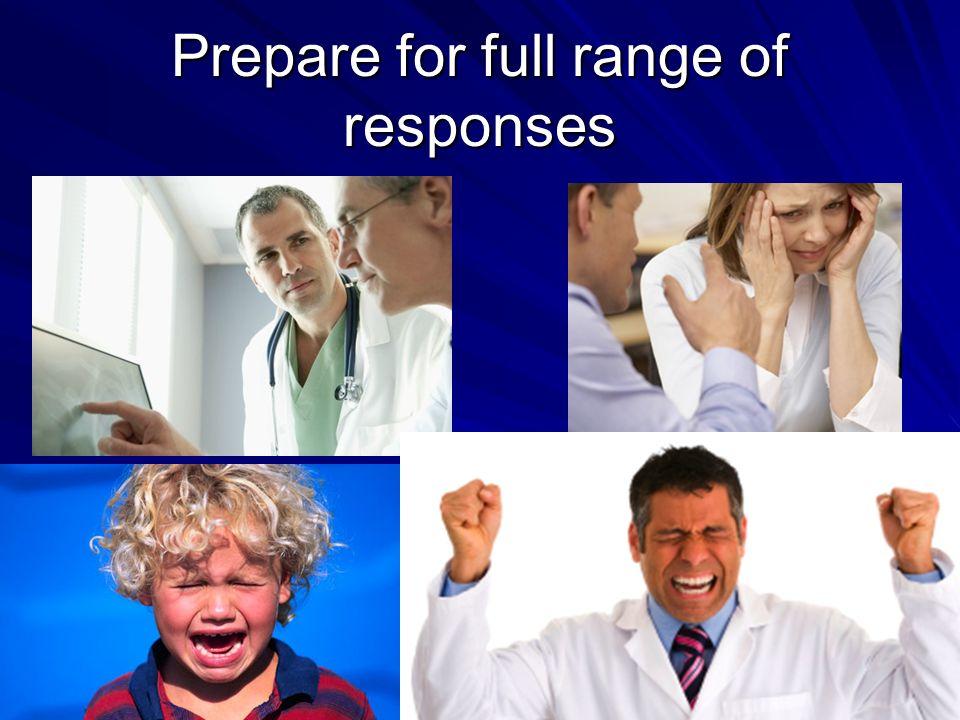 Prepare for full range of responses