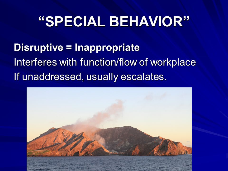 SPECIAL BEHAVIORSPECIAL BEHAVIOR Disruptive = Inappropriate Interferes with function/flow of workplace If unaddressed, usually escalates.