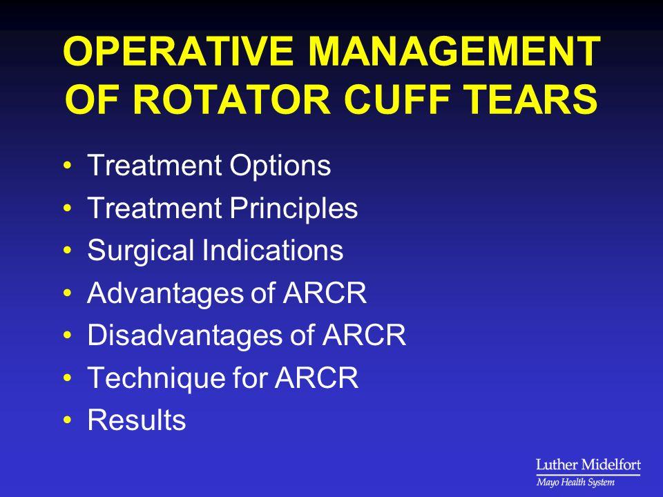 TREATMENT OPTIONS ASAD/debridement without repair Open repair Mini-open repair Arthroscopic repair