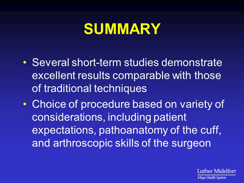 SUMMARY Several short-term studies demonstrate excellent results comparable with those of traditional techniques Choice of procedure based on variety